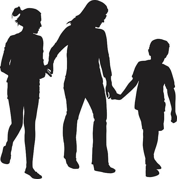 ilustrações, clipart, desenhos animados e ícones de família caminhando juntos - irmã