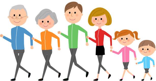 家族、歩行 - 家族 日本人点のイラスト素材/クリップアート素材/マンガ素材/アイコン素材