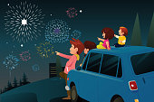 A vector illustration of Family Watching Fireworks for New Year Celebration