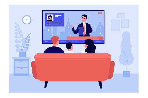 Family watching news in living room Family watching news in living room. Back view of couple and child sitting on couch at TV. Vector illustration for television, broadcasting, entertainment concepts family watching tv stock illustrations