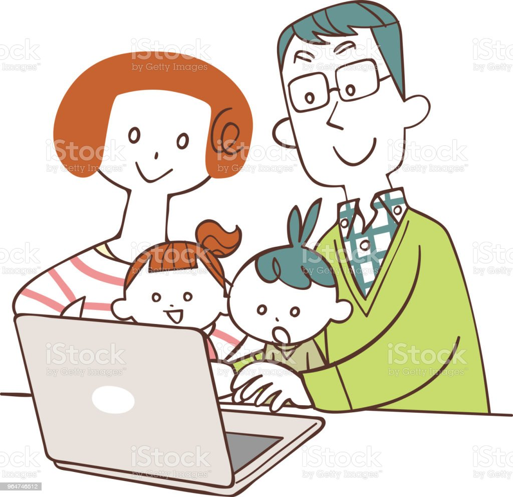 Family watching personal computer royalty-free family watching personal computer stock vector art & more images of child