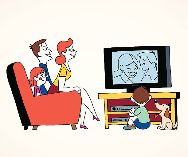 Family watching television illustration of a family watching television family watching tv stock illustrations