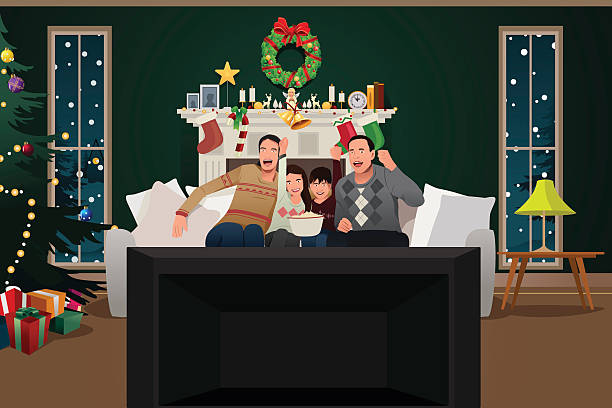 ilustraciones, imágenes clip art, dibujos animados e iconos de stock de family watching tv during christmas season - family watching tv
