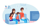 Family watching TV flat vector illustration. Parents with kids spending evening, day off together. Mother and father with children characters sitting on sofa, eating snacks. Indoor entertainment