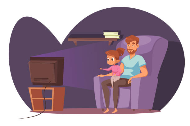 Family watching tv flat vector illustration Family watching tv flat vector illustration. Father and daughter sitting in armchair and watch movie cartoon characters. Home leisure, babysitting, fatherhood. Entertainment and relaxation concept family watching tv stock illustrations