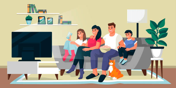 Family watching TV in living room. Vector flat cartoon illustration. Home movie time, indoor weekend leisure concept. Family watching TV in living room. Father, mother and two children sit on sofa together. Vector flat cartoon illustration. Home movie time, indoor weekend leisure concept. watching tv stock illustrations