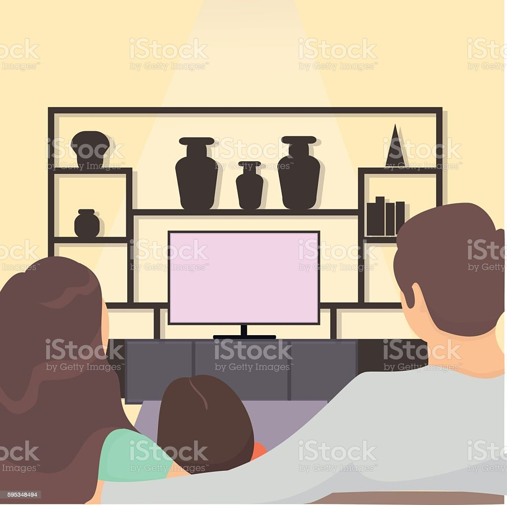 family watching tv together. family sitting on sofa watching television vector art illustration