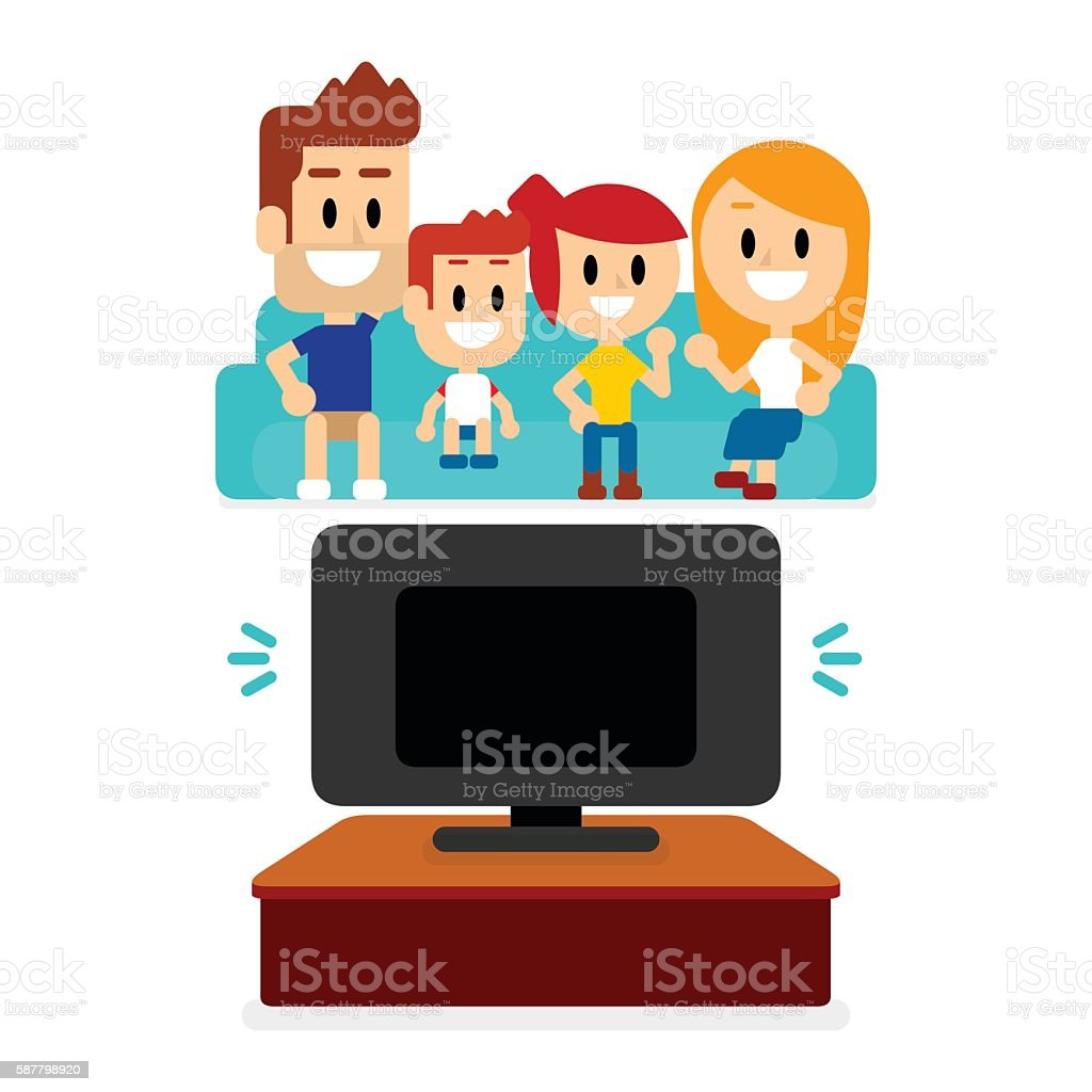 family watching tv together stock vector art amp more images