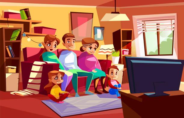 bildbanksillustrationer, clip art samt tecknat material och ikoner med familj tittar på tv vektor cartoon illustration - cosy pillows mother child