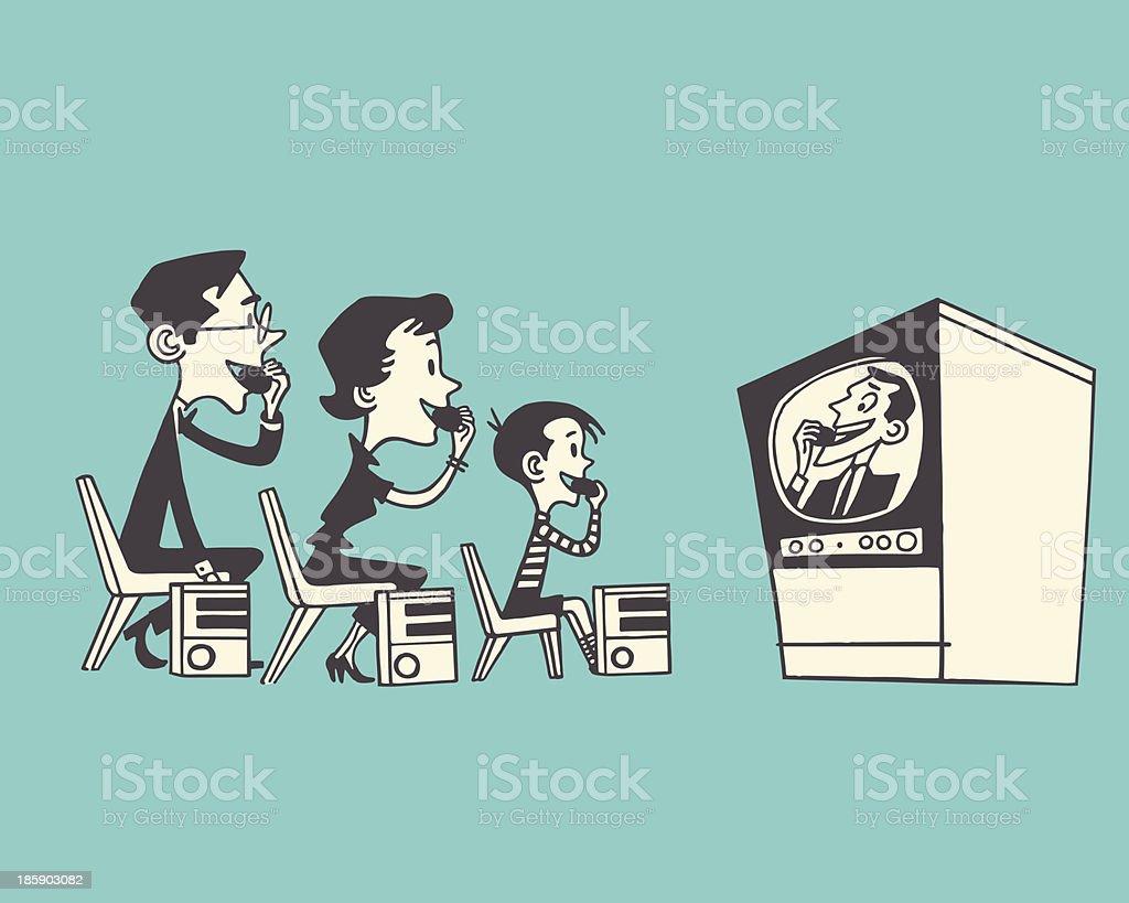 Family Watching TV vector art illustration