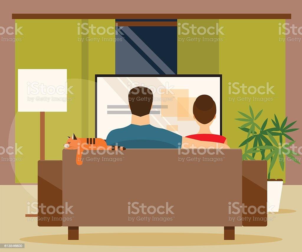 Family watching TV. Vector illustration vector art illustration