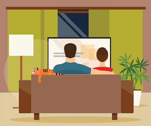 ilustrações de stock, clip art, desenhos animados e ícones de family watching tv. vector illustration - tv e familia e ecrã