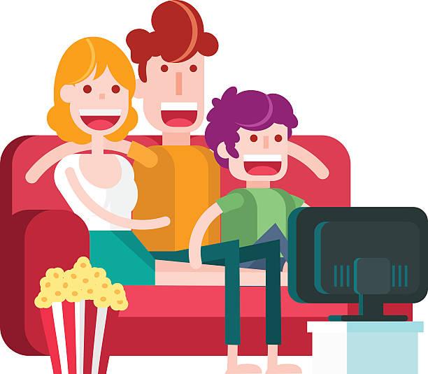 ilustrações de stock, clip art, desenhos animados e ícones de family watching tv with popcorn on a couch. - tv e familia e ecrã