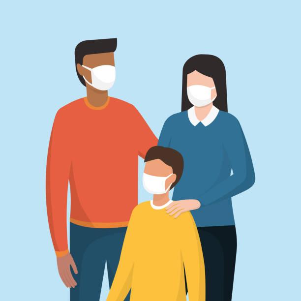 illustrations, cliparts, dessins animés et icônes de famille utilisant un masque protecteur de visage - enfant masque