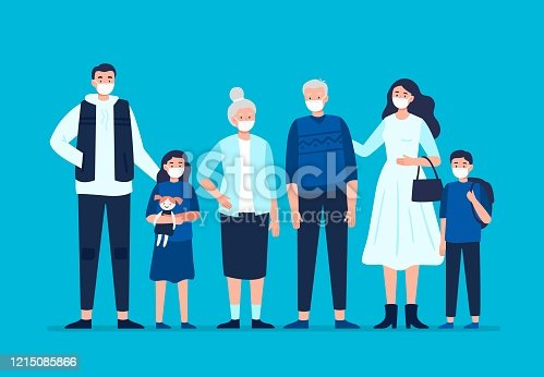Dad, mom, daughter, son, grandmom, granddad wearing a surgical mask. Vector flat illustration.