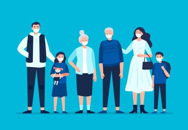 bildbanksillustrationer, clip art samt tecknat material och ikoner med familj bär en skyddande medicinsk mask för att förebygga sjukdom, influensa, luftföroreningar och förorenad luft. - helkroppsbild