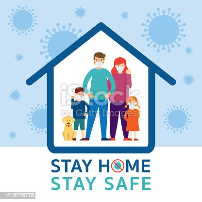 istock Family wearing Face Mask Stay Home to Fight Against Covid-19 1215279775
