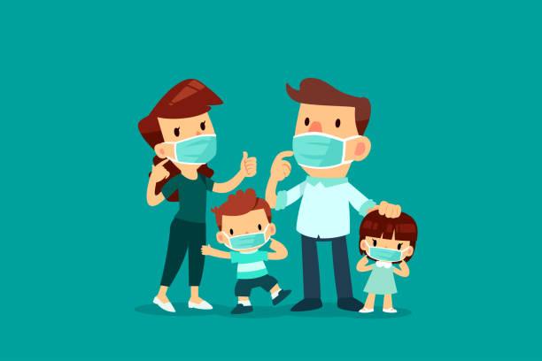 Familie trägt medizinische Maske – Vektorgrafik