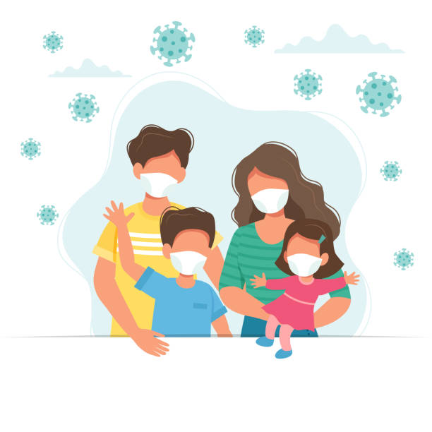 Family wearing medical masks, covid-19 virus prevention. Vector illustration in flat style vector art illustration