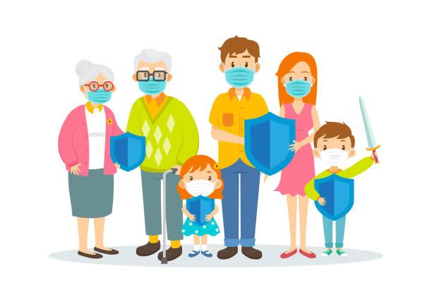 illustrations, cliparts, dessins animés et icônes de famille utilisant des masques chirurgicaux et retenant le bouclier de protection isolé sur le fond blanc, illustration vectorielle - enfant masque