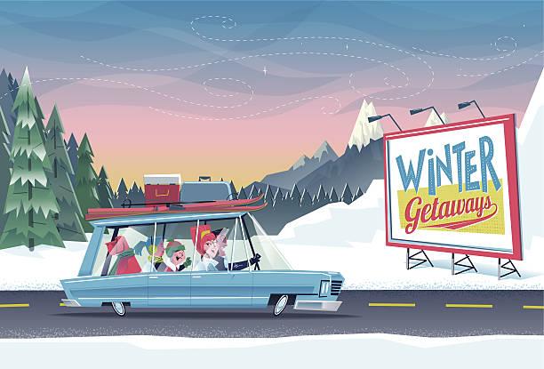 Escapade d'hiver en famille - Illustration vectorielle