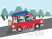 Family winter traveling. Mountain outdoor tourism. Travel by car. Flat