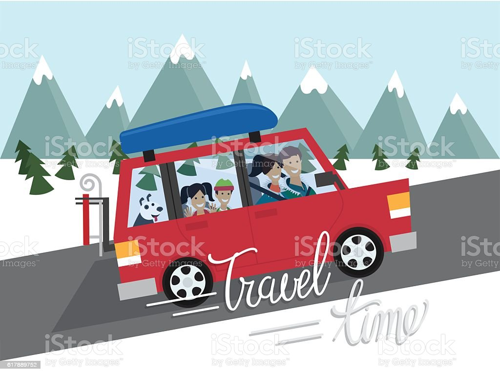 Family winter traveling. Mountain outdoor tourism. Travel by car. Flat - Illustration vectorielle