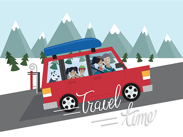 Family winter traveling. Mountain outdoor tourism. Travel by car. Flat vector art illustration