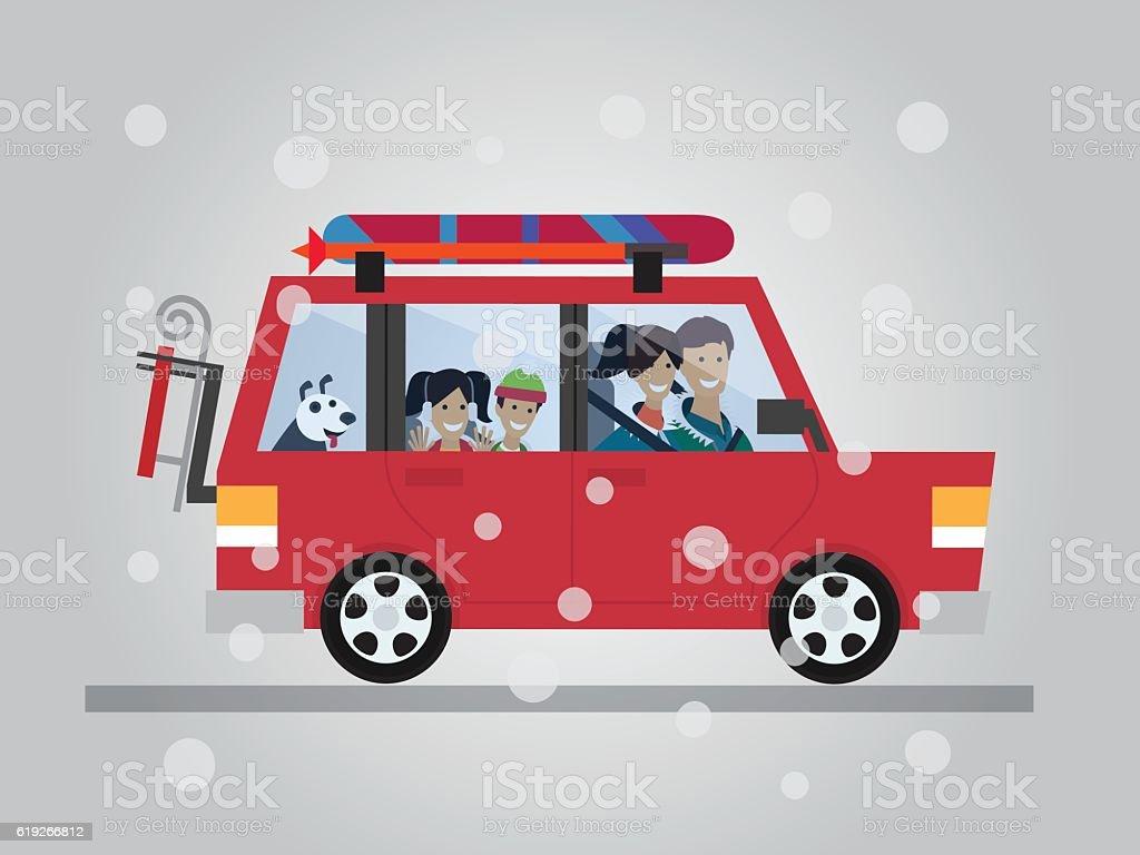 Family winter traveling. Travel by car. Flat design vector illustration. – Vektorgrafik