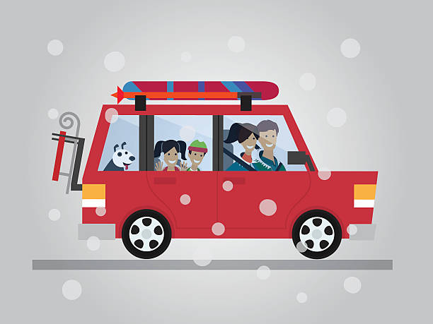 Family Winter Traveling Travel By Car Flat Design Vector Illustration Art