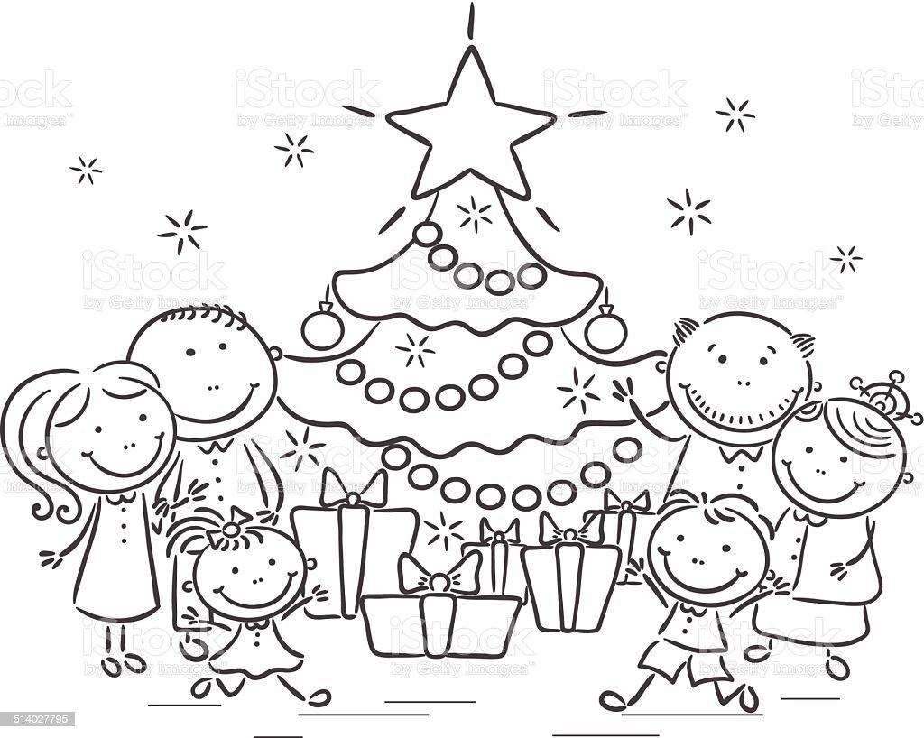 Familia con un rbol de navidad y regalos illustracion - Familias en blanco y negro ...