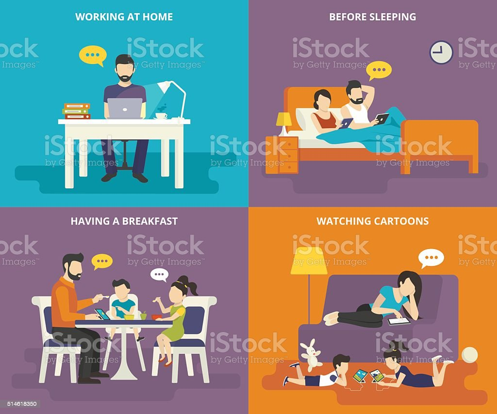Family with children concept flat icons set of man working at home...