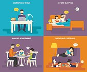 Family with children concept flat icons set of man working at home with laptop, reading news before sleeping, having a breakfast , watching cartoons on tablet pc. Illustration of people with gadgets