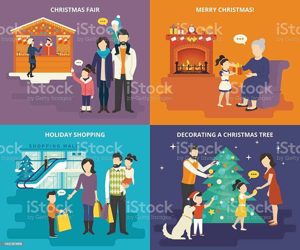 Familie mit Kinder-Konzept-flache Icon-set – Vektorgrafik
