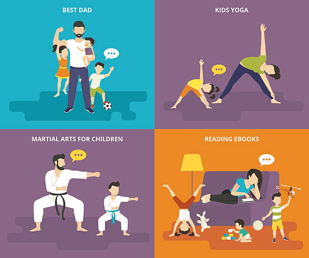 family with children concept flat icons set - martial arts stock illustrations