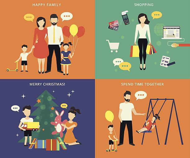 bildbanksillustrationer, clip art samt tecknat material och ikoner med family with children concept flat icons set - christmas gift family
