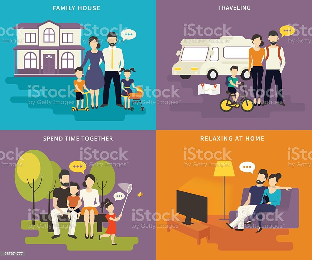 Family with children concept flat icons set of house, traveling,...