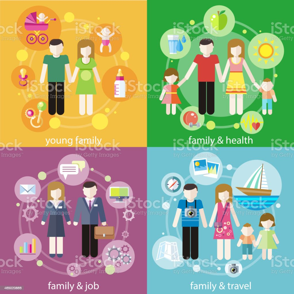 Family with children kids people concept vector art illustration