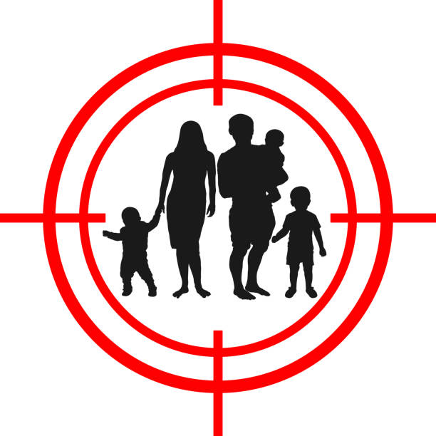 Family with children target. Under aim. vector art illustration