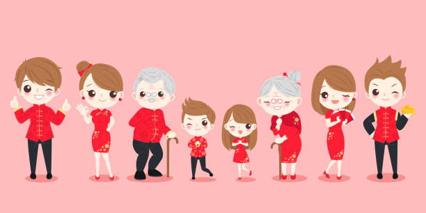 family with chinese new year - old man showing thumbs up cartoons stock illustrations, clip art, cartoons, & icons