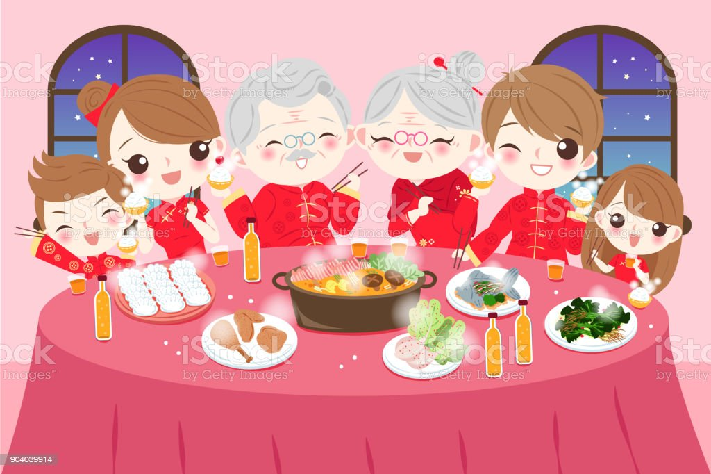 family with chinese new year vector art illustration