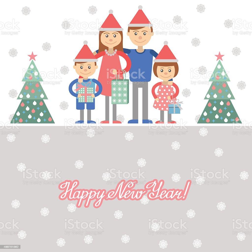Familie Mit Weihnachtsgeschenke Vektorillustration Vektor ...