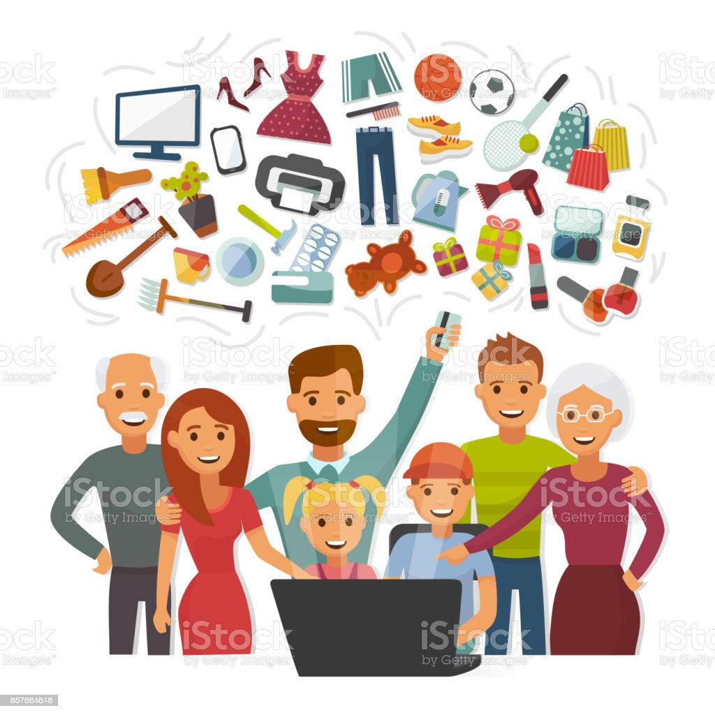 Family with credit card shopping online happy people characters computer buying internet purchase vector illustration vector art illustration