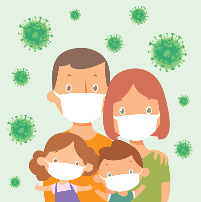Family with dad, mum and two children. Wears face masks due to coronavirus Covid-19 pandemic