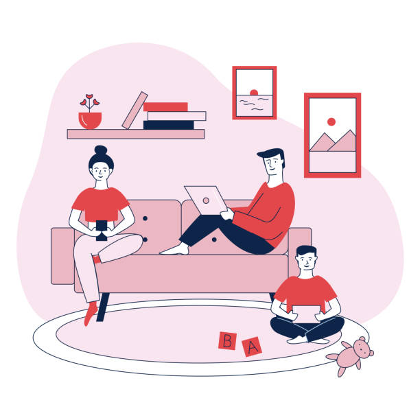 illustrazioni stock, clip art, cartoni animati e icone di tendenza di family with digital devices flat vector illustration - divano procrastinazione