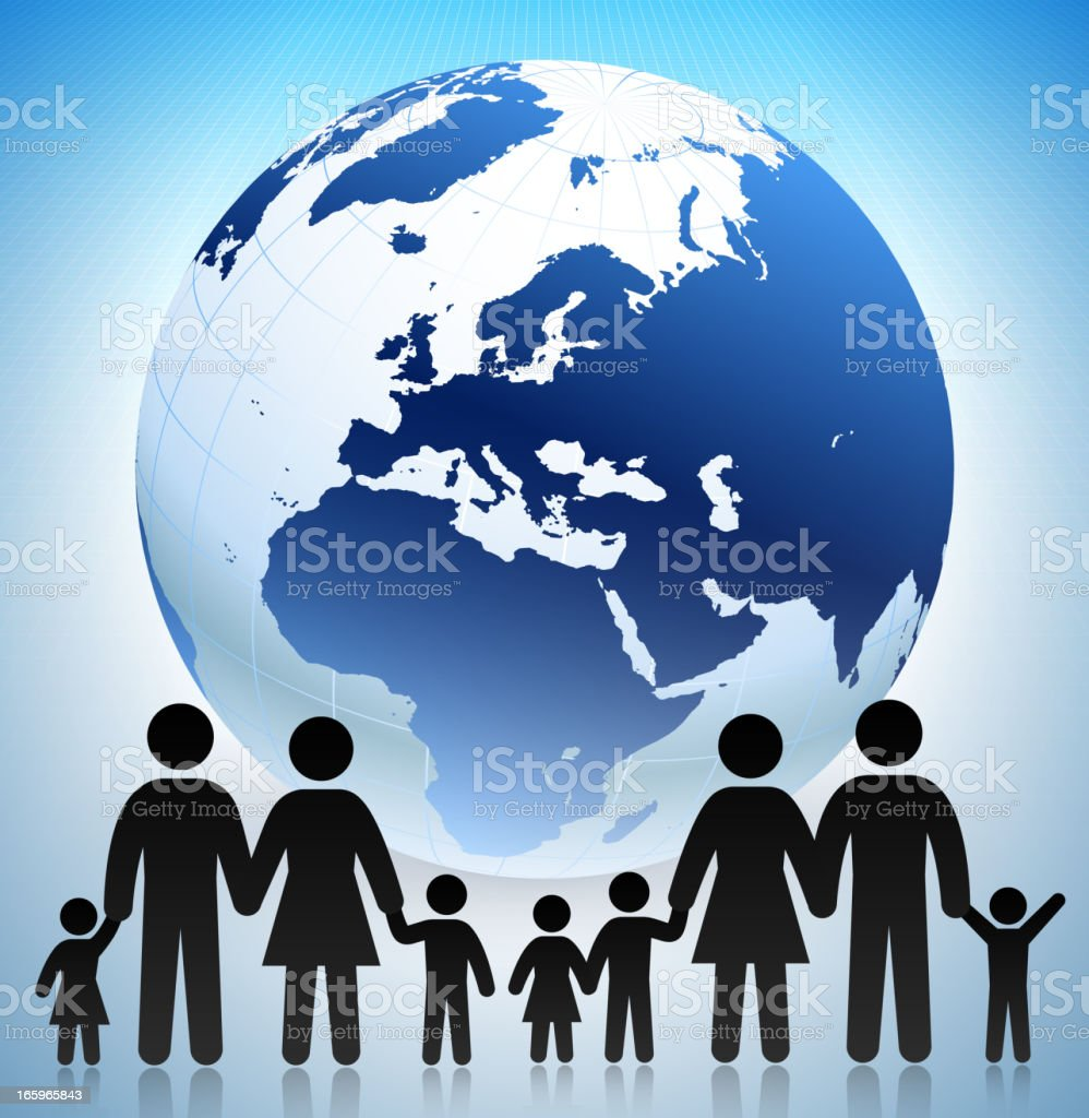 Family with Globe Concept and Stick Figures vector art illustration