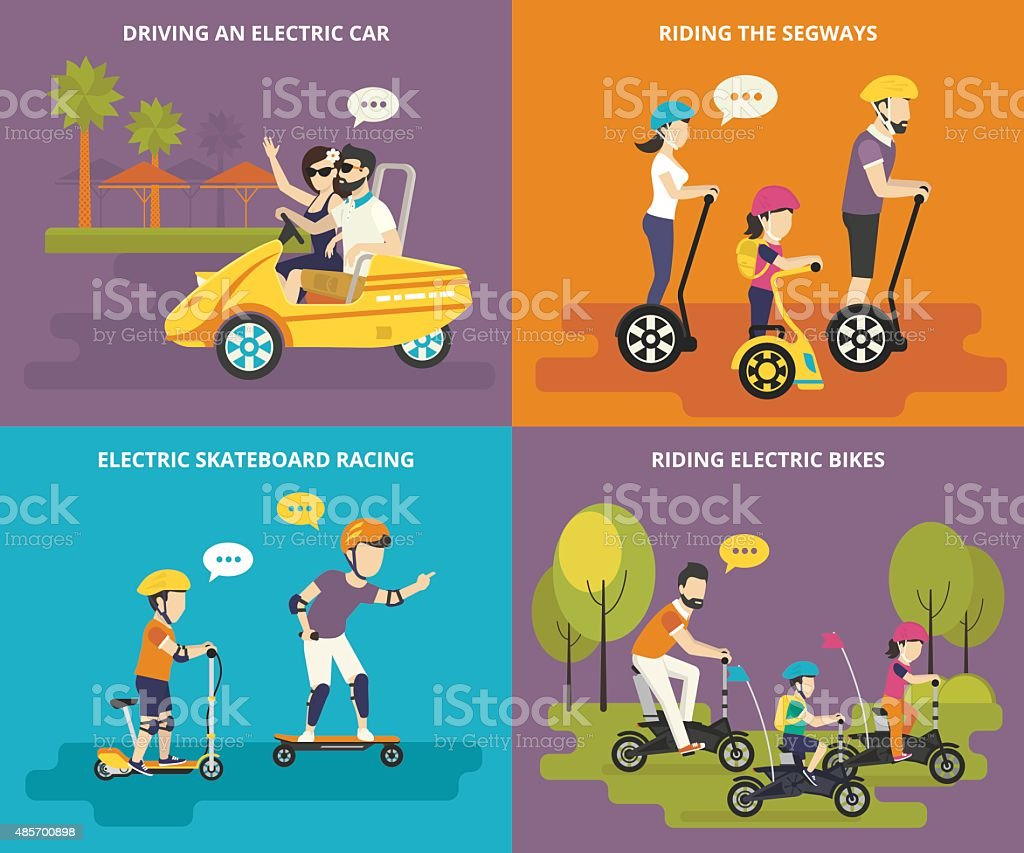 Family with kids active life vector art illustration