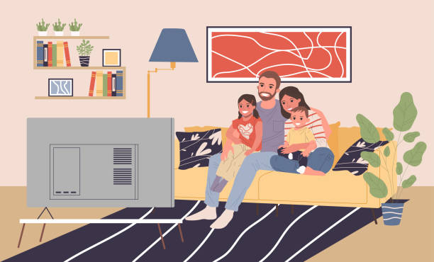Family with kids at TV vector illustration Family with kids at TV vector illustration. Happy man, woman, boy, girl sitting together on couch at home, watching movie. Young couple with children for house interior, entertainment, love concept family watching tv stock illustrations