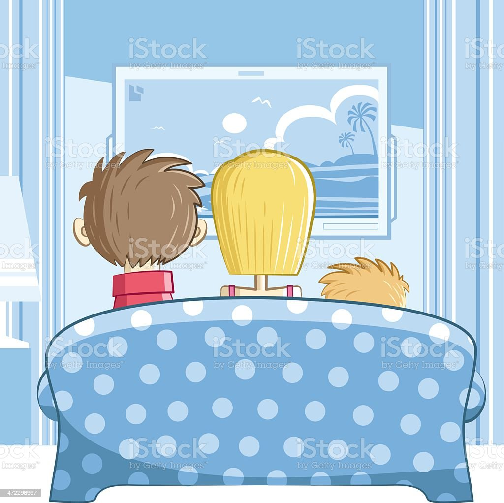 family with one child vector art illustration
