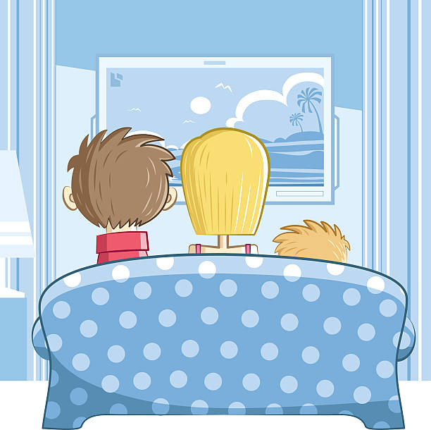 family with one child every fact easly move or clear  family watching tv stock illustrations
